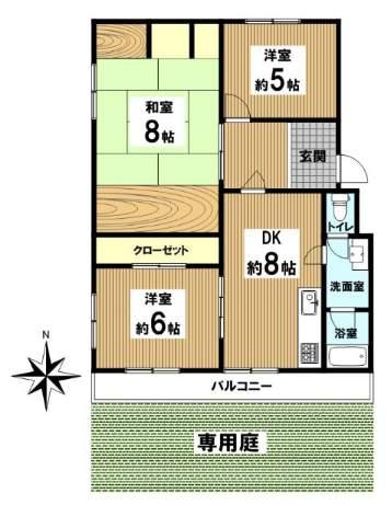仁川フラットC棟(1階部分・72.09㎡) 間取り