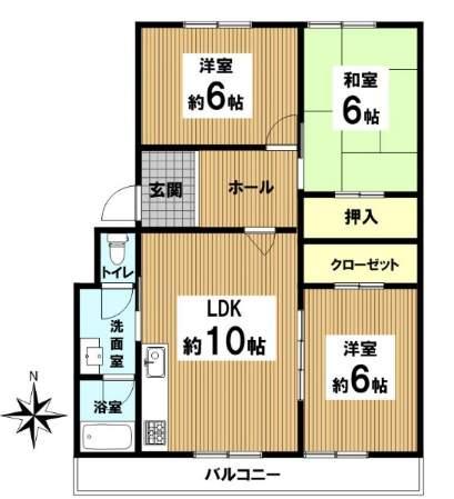仁川フラットC棟(3階部分・66.95㎡) 間取り