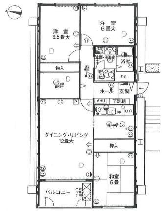 アステム芦屋B棟(24階部分・80.55㎡) 間取り