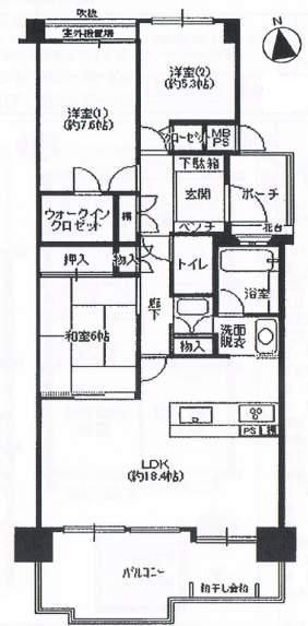 メゾン仁川高台(4階部分・86.50㎡) 間取り