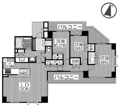 ステイツグラン夙川(6階部分・95.33㎡) 間取り