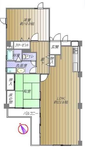 夙川台サンハイツC棟(3階部分・95.01㎡) 間取り