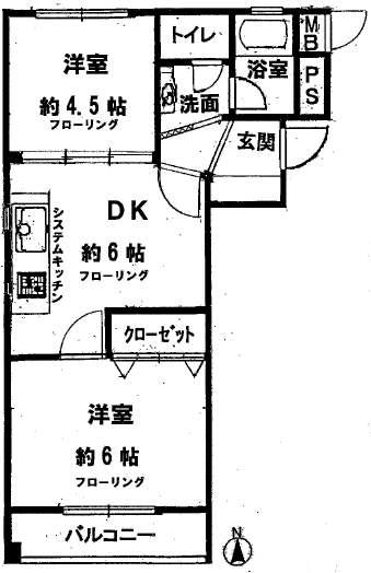 甲子園第3コーポラス(4階部分・39.25㎡) 間取り