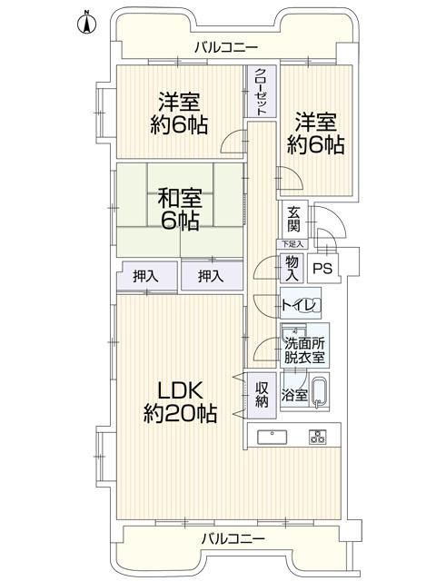 グランドメゾン広田(2階部分・85.13㎡) 間取り