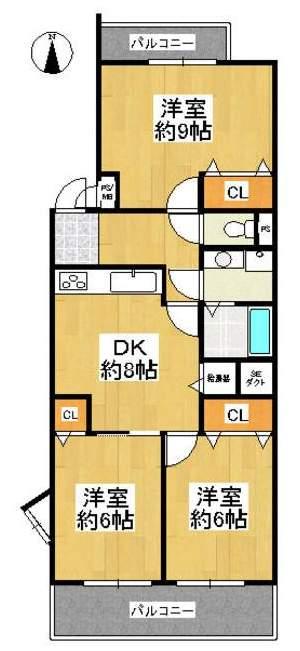 芦屋打出パークマンション(2階部分・68.65㎡) 間取り