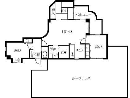 ネオディ西宮(4階部分・73.60㎡) 間取り