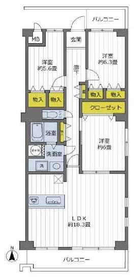 芦屋春日コーポラスA棟(3階部分・92.80㎡) 間取り