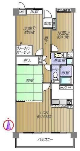 香櫨園フラットA棟(5階部分・72.42㎡) 間取り
