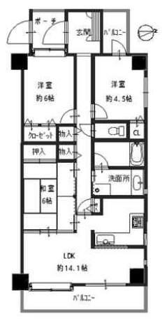 藤和シティホームズ西宮並木通り(4階部分・74.95㎡) 間取り