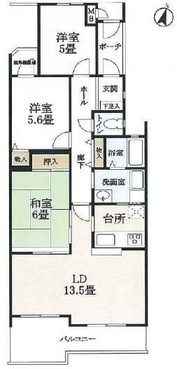 ロイヤル芦屋松浜(2階部分・74.73㎡) 間取り