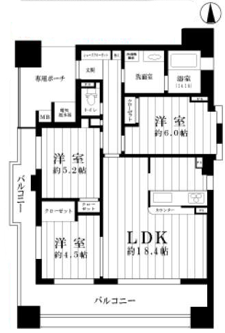 ロイヤル西宮駅前アイシス(3階部分・70.03㎡) 間取り