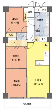 シーアイマンション夙川広田(3階部分・66.08) 間取り