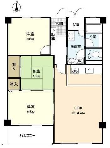 シーアイマンション第3夙川(3階部分・68.69㎡) 間取り