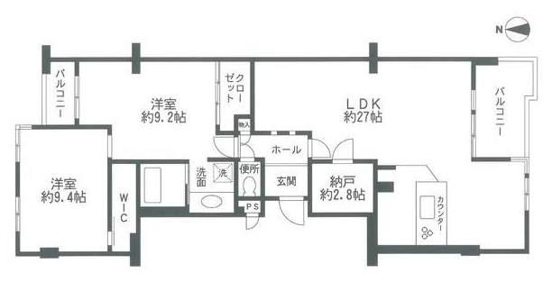 藤和ライブタウン甲陽園山王町B号棟(4階部分・105.76㎡) 間取り