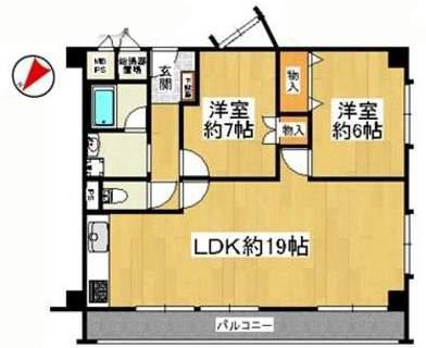 興人甲東園マンション(6階部分・68.40㎡) 間取り