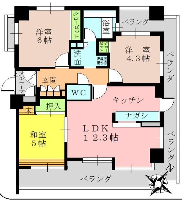 ロイヤル甲子園(5階部分・61.00㎡) 間取り
