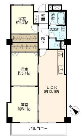 甲子園センチュリーマンション(6階部分・63.23㎡) 間取り