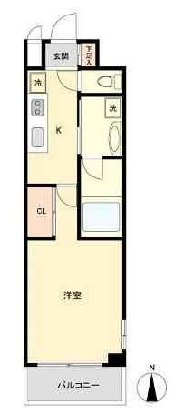 シティライフ夙川(5階部分・25.00㎡) 間取り