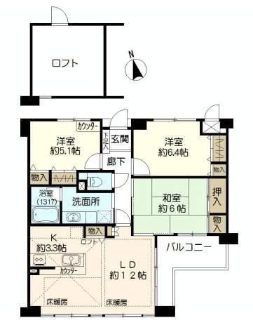 ルイシャトレ香櫨園(4階部分・74.36㎡) 間取り