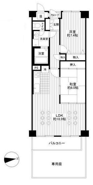 西宮能登レックスマンション(1階部分・73.50㎡) 間取り