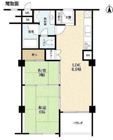 芦屋パレスハイツ北館(6階部分・46.40㎡) 間取り
