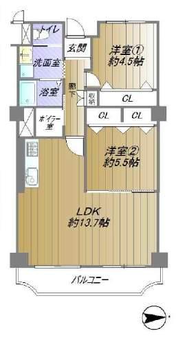 ローズハイツ芦屋(3階部分・63.52㎡) 間取り