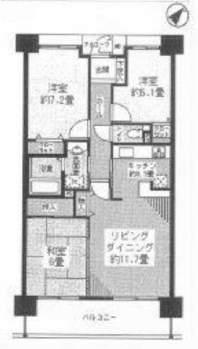 西宮マリナパークシティ桜のまち5番館(10階部分・74.06㎡) 間取り
