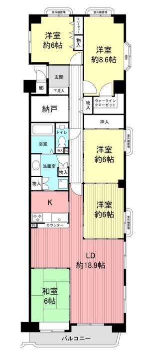 芦屋パインクレスト(5階部分・122.98㎡) 間取り