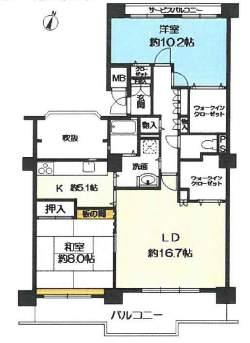 ラヴェール芦屋Ⅲ6号棟(4階部分・99.31㎡) 間取り