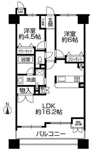 ロイヤル西宮駅前アイシス(9階部分・60.61㎡) 間取り