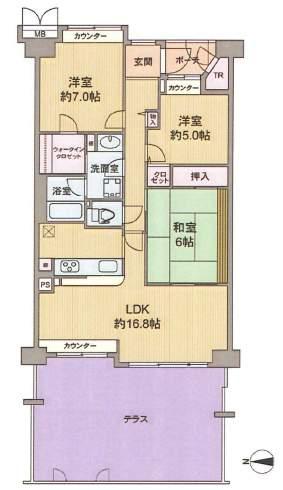 ロイヤルアーク芦屋2(4階部分・79.89㎡) 間取り