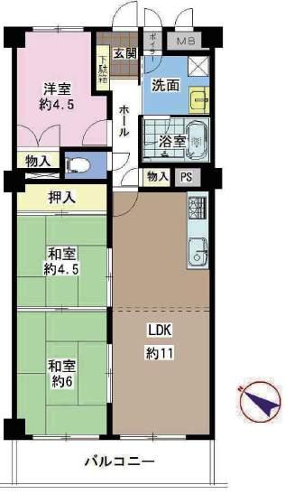 シーアイマンション夙川広田(6階部分・66.08㎡) 間取り