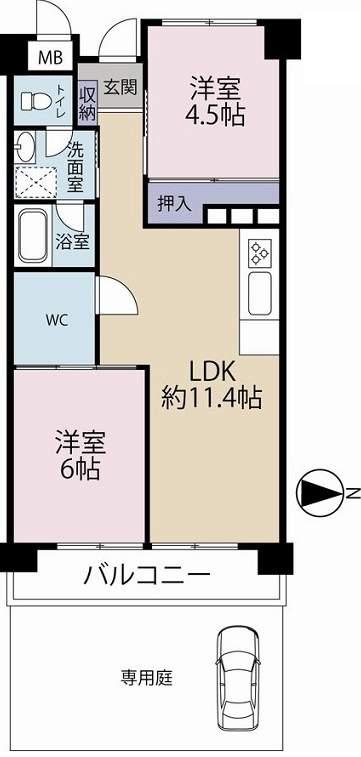 日商岩井甲陽園マンション(1階部分・53.33㎡) 間取り