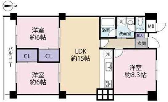 日商岩井甲陽園マンション(3階部分・74.08㎡) 間取り