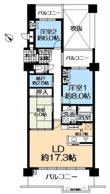 ルネヒューマンズガーデンパラディオA棟(2階部分・96.88㎡) 間取り