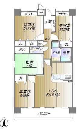 西宮マリナパークシティ杜のまち4番館(2階部分・85.30㎡) 間取り