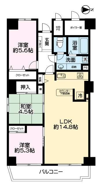 フドウ東芦屋ハイツ(5階部分・78.00㎡) 間取り