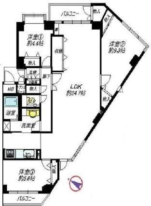 グランドムール芦屋親王塚(3階部分・97.76㎡) 間取り