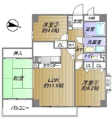 パークハイム芦屋翠ケ丘(2階部分・67.53㎡) 間取り