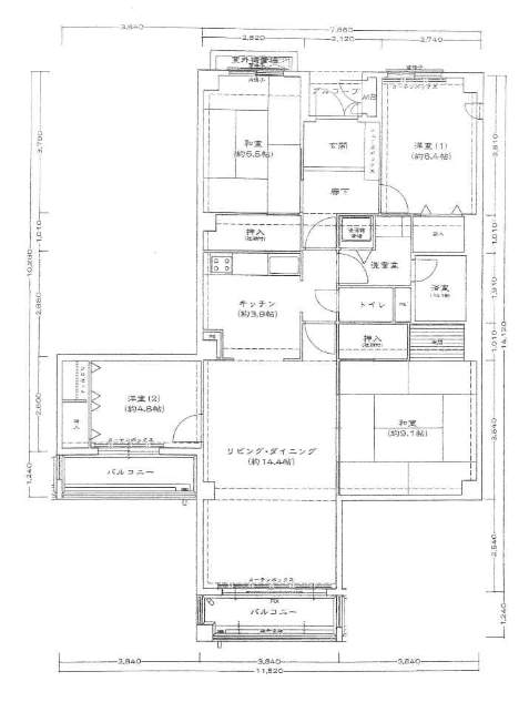 白鷹甲子園マンション(4階部分・111.45㎡) 間取り