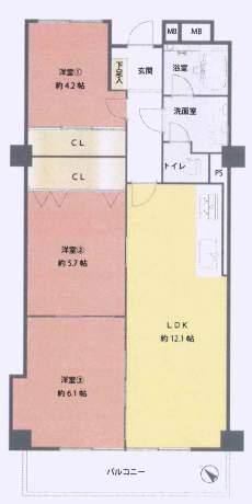 甲子園センチュリーマンション(4階部分・62.70㎡) 間取り
