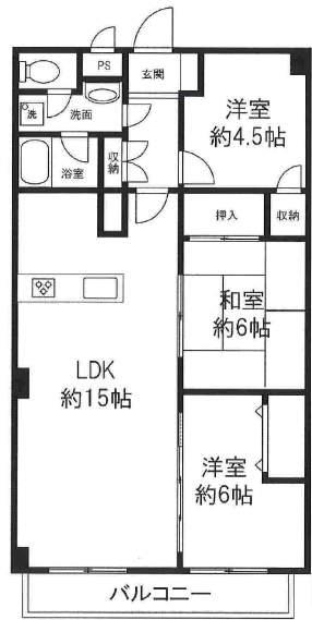 シーサイドコーポ芦屋(4階部分・75.60㎡) 間取り