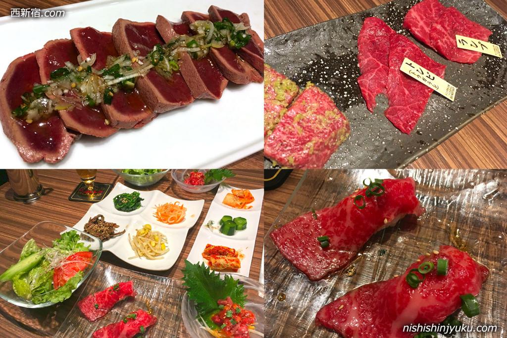 西新宿「新宿焼肉BULLS(ブルズ)」の6,000円コースとアラカルトのレバーステーキ