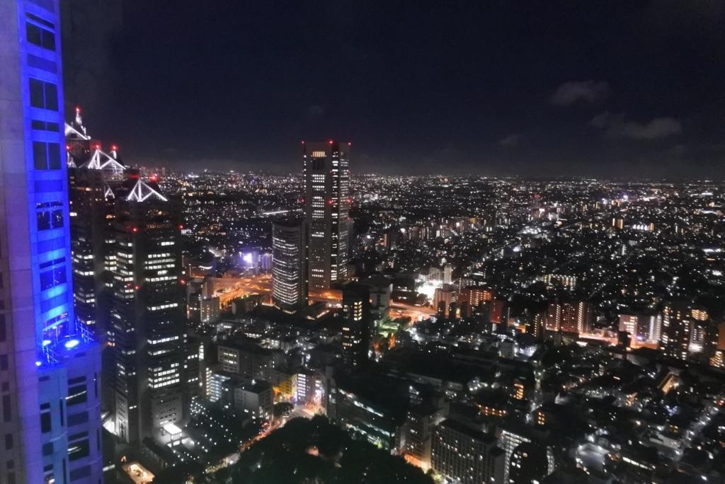 デートにも!東京都庁展望室(展望台)からの夜景(パークハイアット、オペラシティ側)