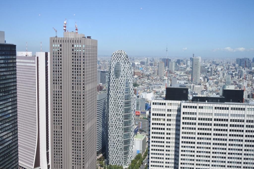 東京都庁展望室(展望台)から眺める、西新宿高層ビル群