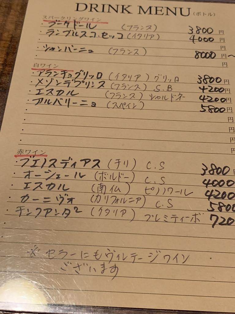 西新宿フレンチ「プロヴァンサル」のワインリスト