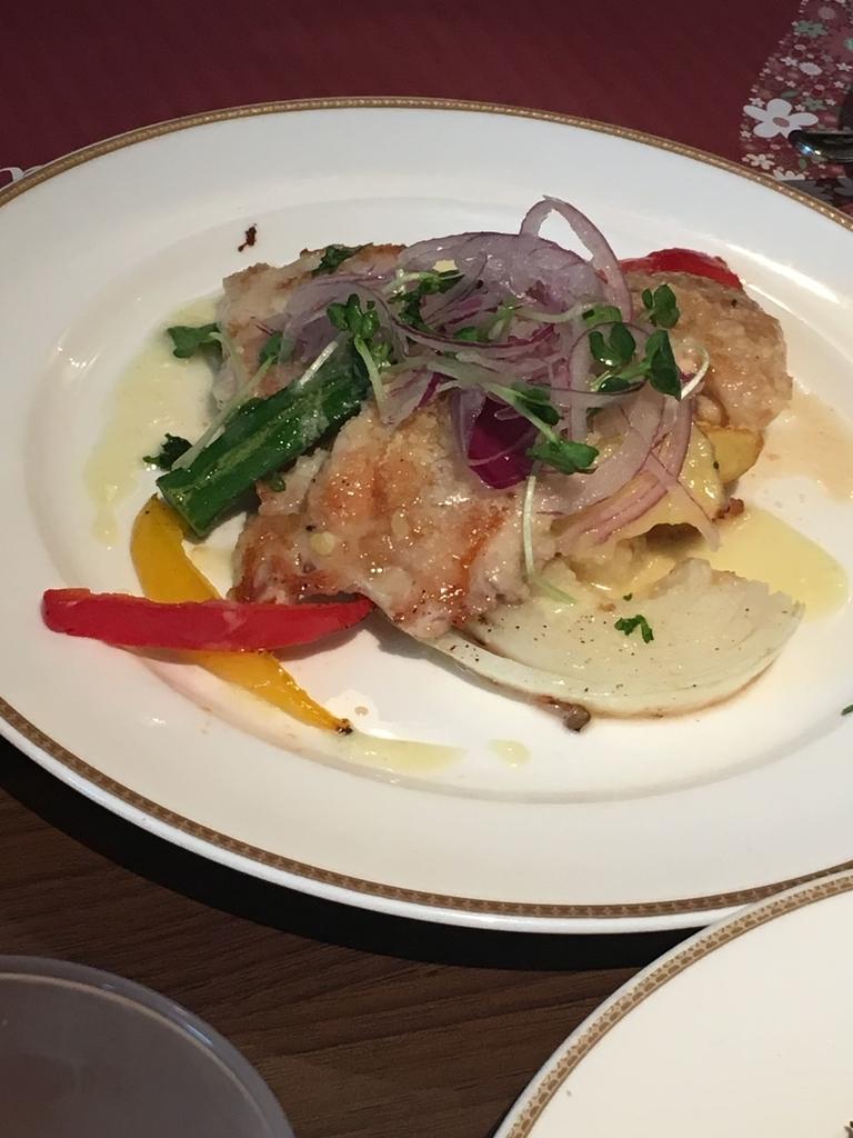 サンマルクレストラン 新宿(小田急ハルク内にある、ベーカリーレストラン)のメインプレート、若鶏と彩り野菜のグリル