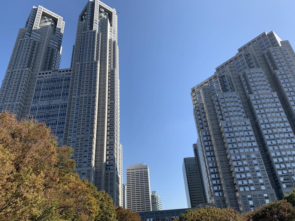 新宿中央公園から眺める都庁や、西新宿高層ビル群