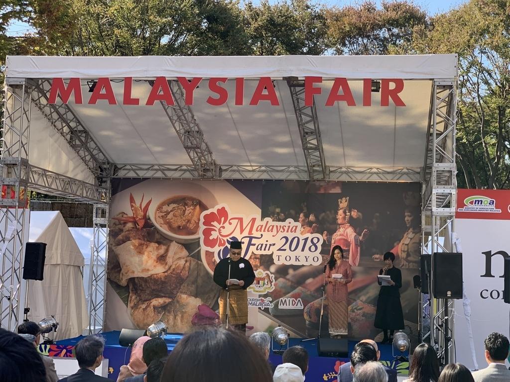 マレーシアフェア 2018の会場となっている、新宿中央公園・水の広場のステージ