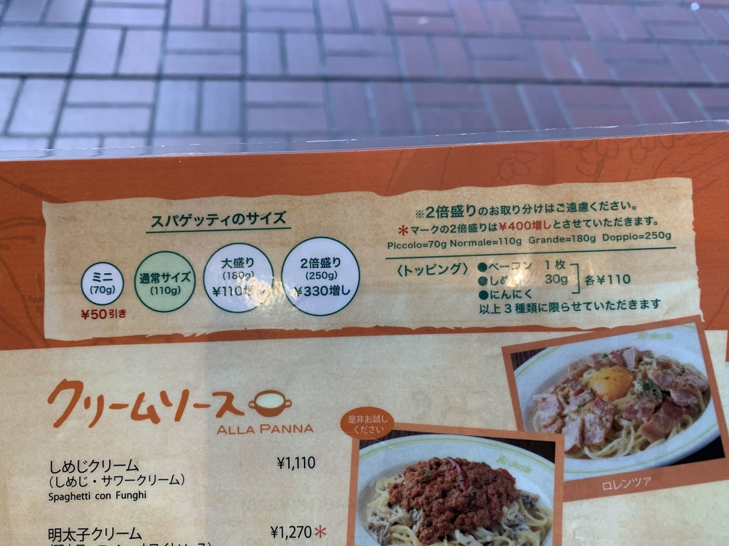 西新宿「あるでん亭 新宿センタービル店」、メニューのスパゲッティの量一覧